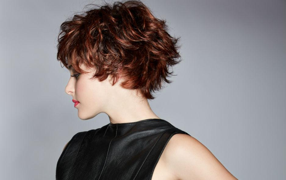 Short and styled hairstyle