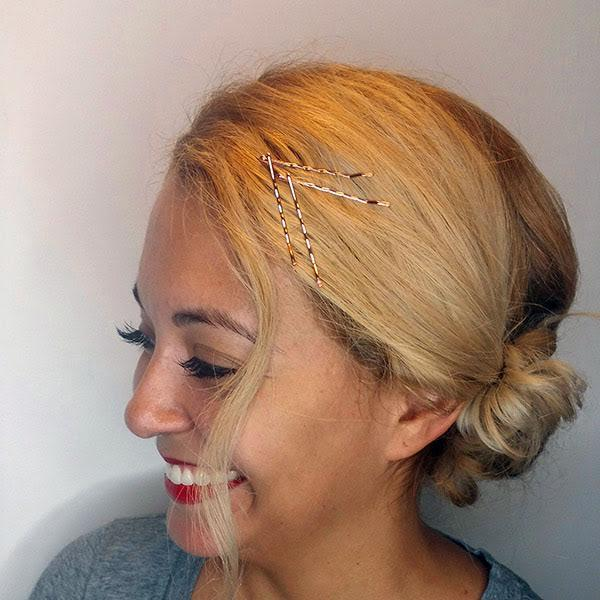 going out updo with rose gold bobby pins