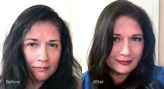 Woman before and after hair color