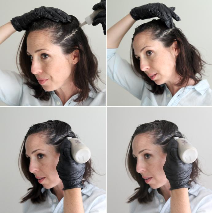woman applying hair color