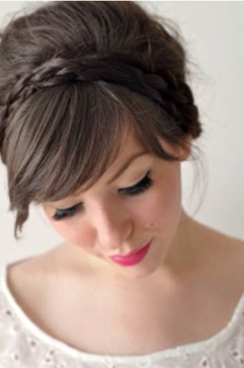 bride with braided hair headband
