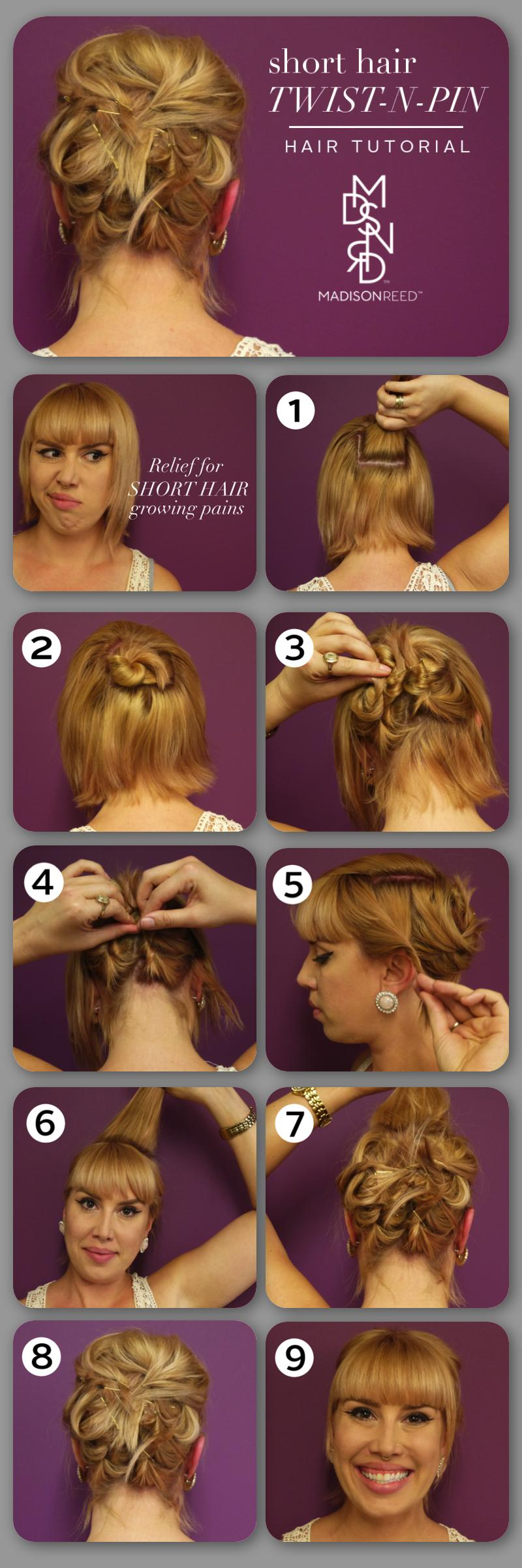 Hair Tutorial: Twist-N-Pin Hairstyle for Short Hair