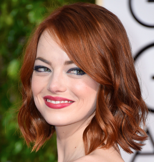 Emma Stone with coppery hair color
