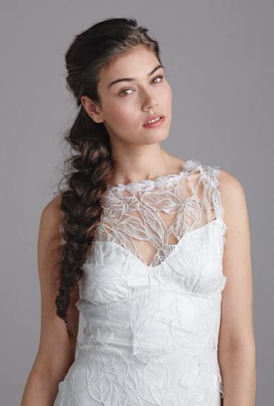 bride with bohemian side braid