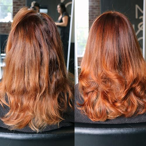 genova red hair color - before and after