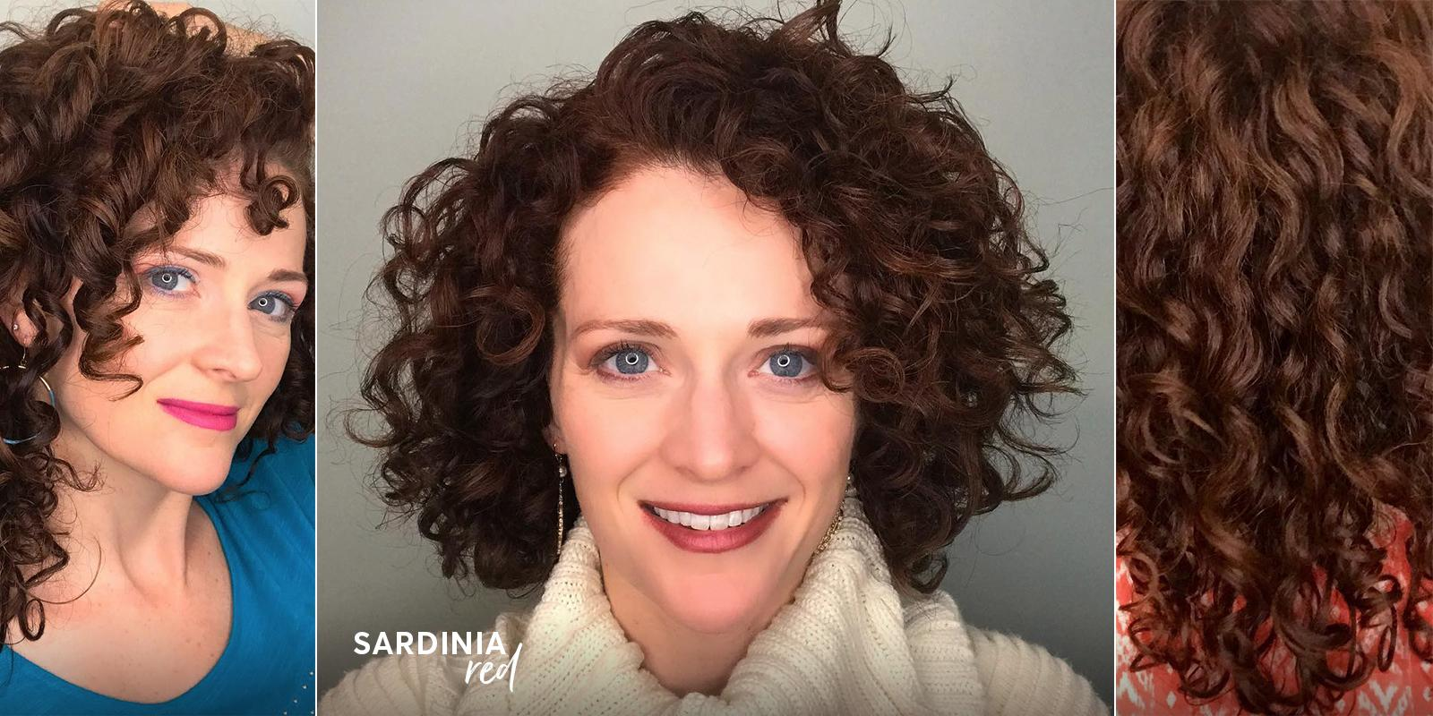 Sardinia red hair color from Madison Reed on curly haired woman