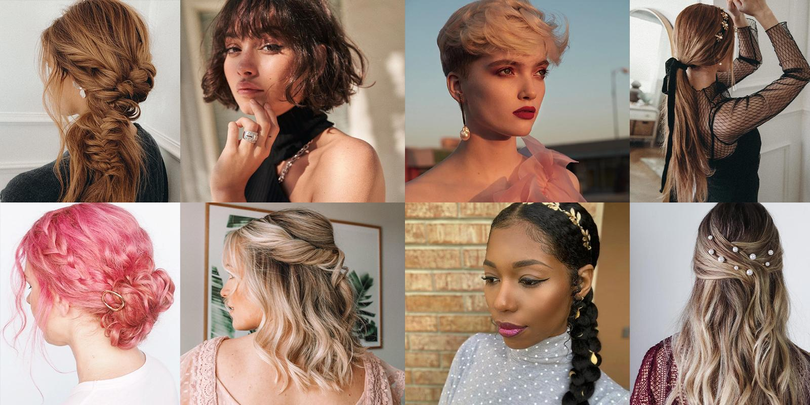 collage of women with holiday hair