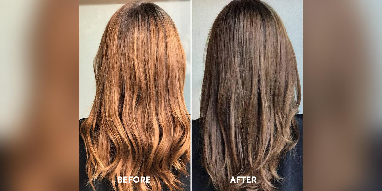 Before and After of Veneto Hair color application