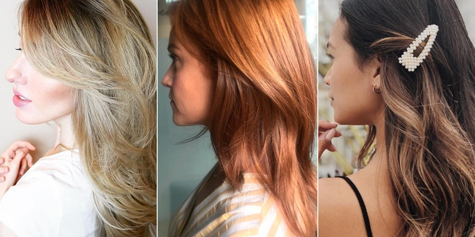 Side profiles of three women with beautiful hair