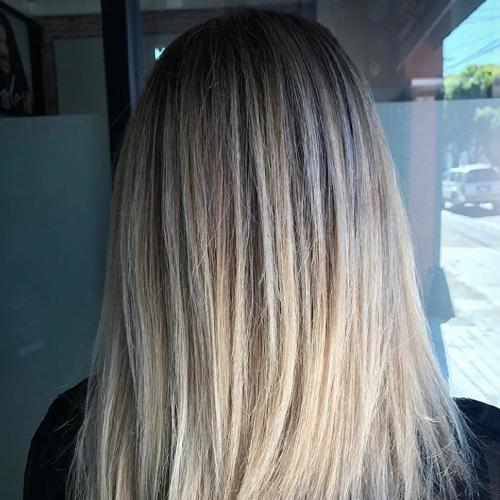 Back of blonde woman's head