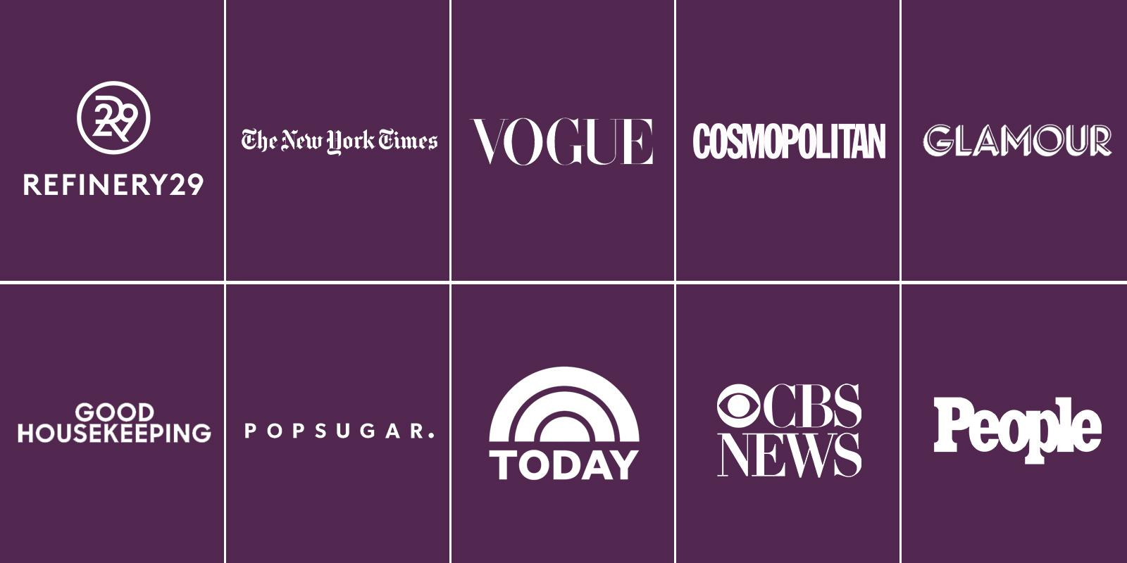 Collage of logos on a purple background
