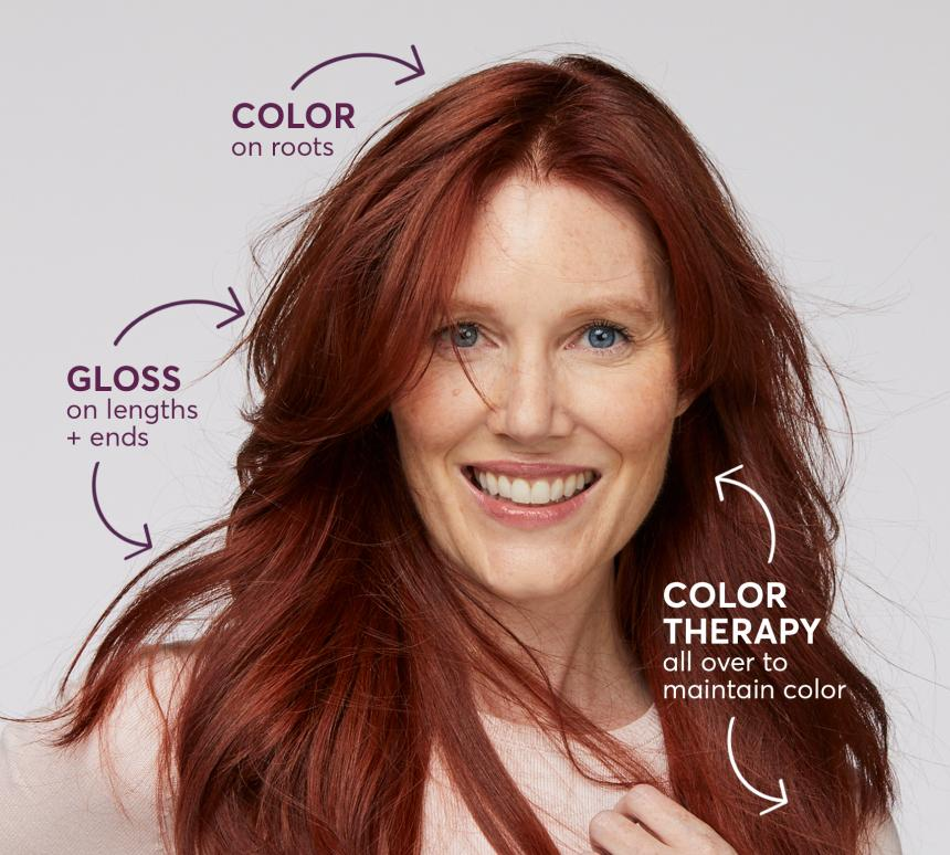 Color on roots, Gloss on lengths and ends, Color Therapy all over to maintain color