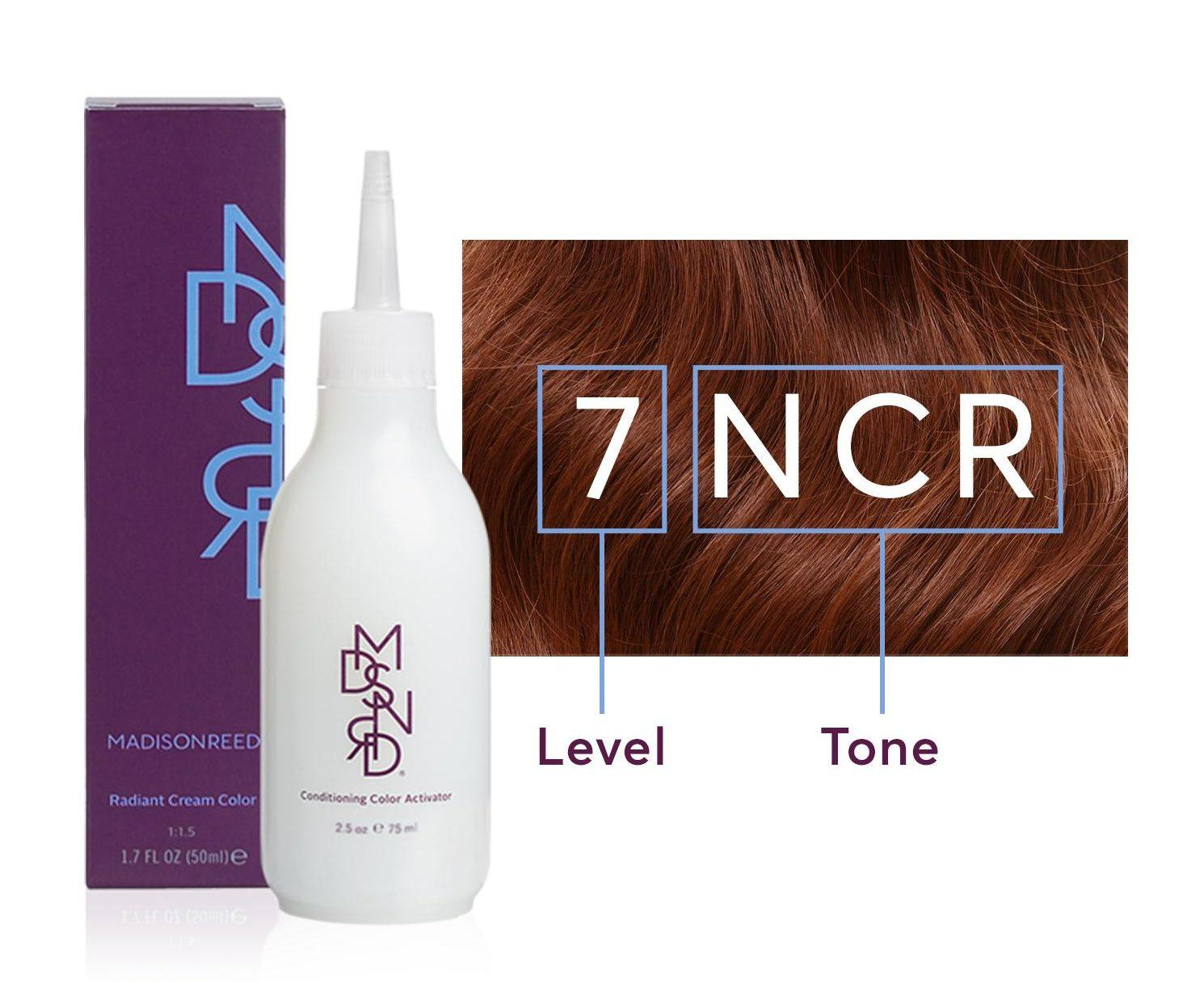 Madison Reed hair color box and activator with level and tone information