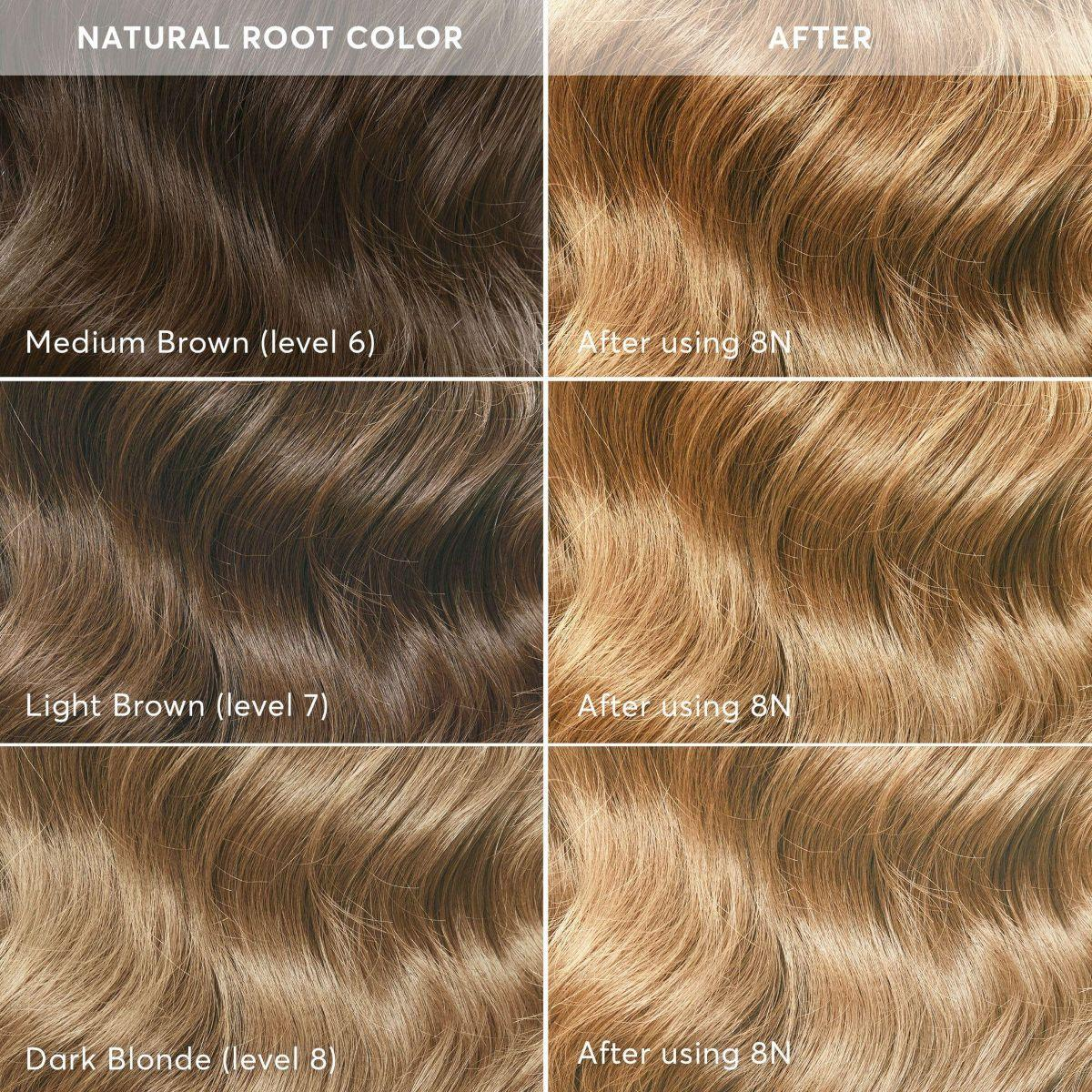8N hair color level lift before and after