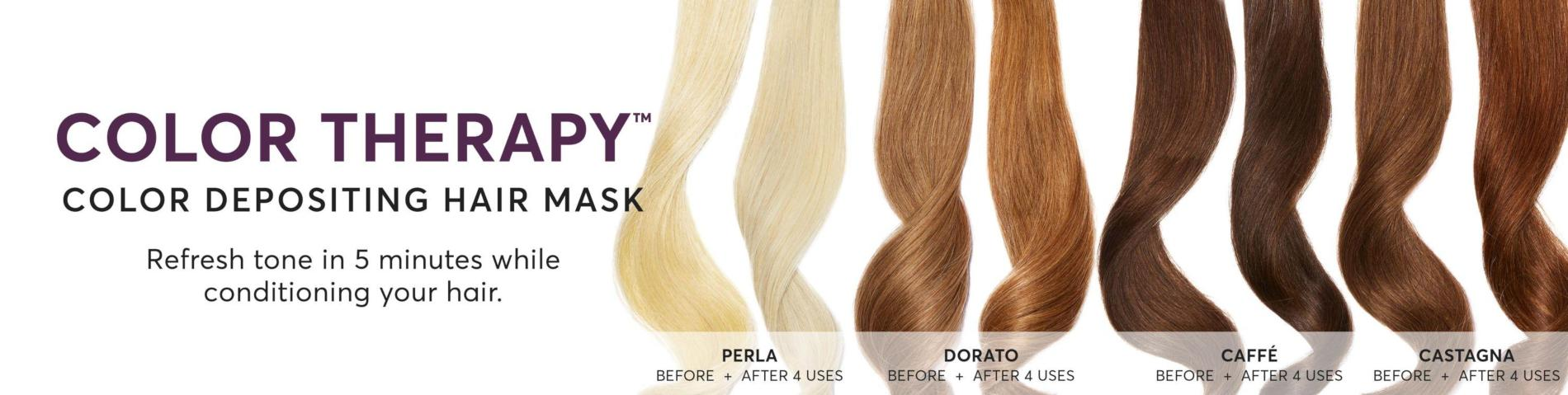 Color Therapy Color Depositing Hair Mask before and after shots